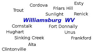 Williamsburg WV Area: Trout, Cordova, Esty, Friars Hill, Sunlight, Renick, Fort Donally, Unis, Frankford, Clintonville, Alta, Sinking Creek, Hughart, Cornstalk.