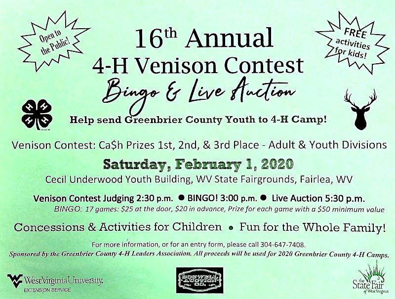 4-H Venison Contest Bingo and Live Auction